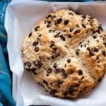 Soda bread made with cake flour, whiskey-soaked raisins, buttermilk, and orange zest.