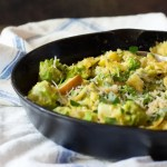 Romanesco sautéed with apples, scallions, and garlic, and tossed with pasta and a curry cauliflower sauce.