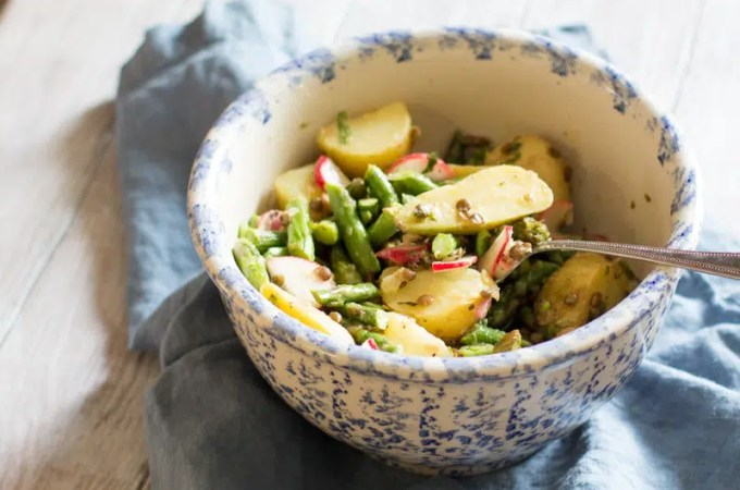 Vegan Asparagus Salad with Potatoes and Lentils in a Lemon Vinaigrette