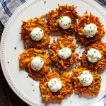 Appetizer or Entree: Sweet potato latkes with jalapeño, scallions and Ancho chili powder, topped with lime sour cream and chives.