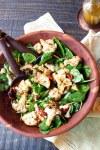 FreshCap Mushrooms mushroom powder added a roasted mushroom vinaigrette over a roasted cauliflower and tomato warm salad.