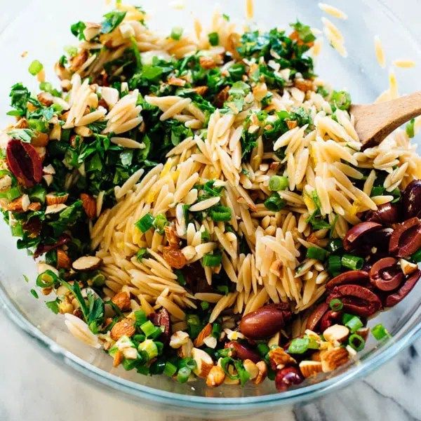 Orange Orzo Salad with Feta and Olives