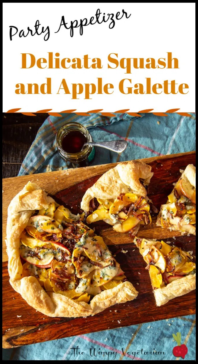 This addictive delicata squash and apple galette appetizer is quick to prep, and perfect for any party. Smear puff pastry with fig jam, layer it with squash, apples and caramelized onion, and bake. Drizzle with honey and add blue cheese crumbles before serving.