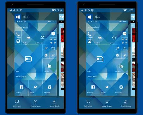 Windows 10 Mobile Concept Split-screen
