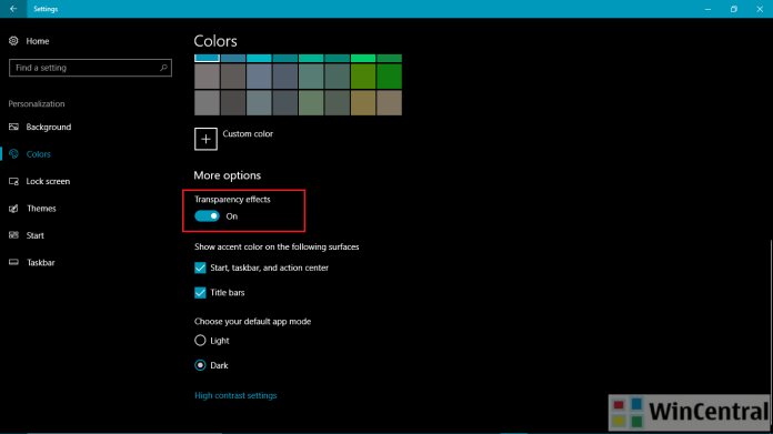 Windows 10 Transparency Settings