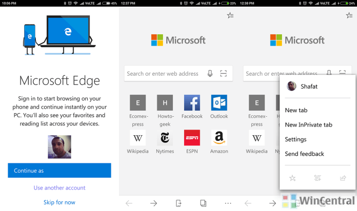 Microsoft Edge on Android preview