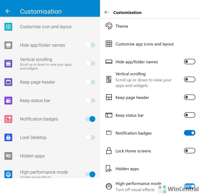 Microsoft Launcher Customisation Screen Comparison