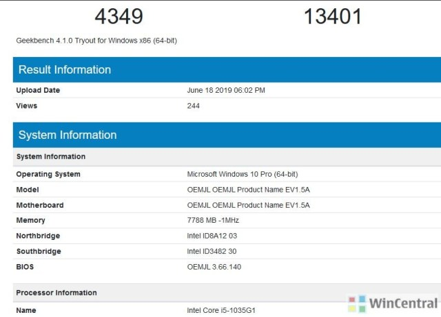 Surface Pro 7 with Intel Ice Lake processor appears on the