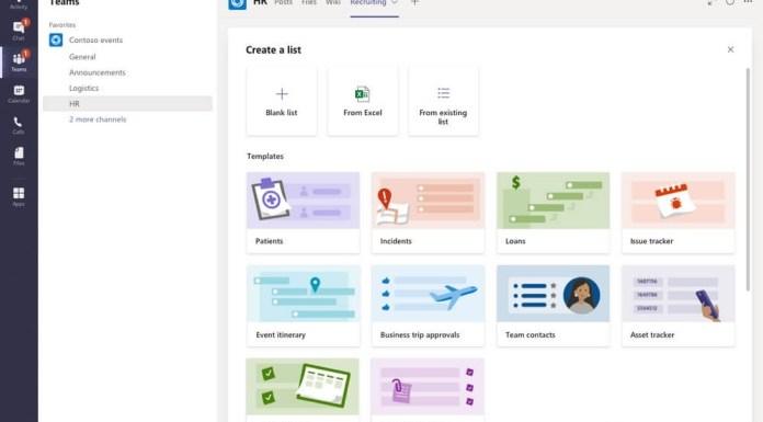 Lists app in Microsoft Teams