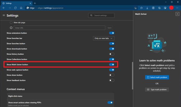Math Solver in Microsoft Edge browser