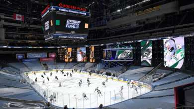 EDMONTON, ALBERTA - SEPTEMBER 08: A general view is seen of warm-up before Game Two of the Western Conference Final of the 2020 NHL Stanley Cup Playoffs between the Dallas Stars and the Vegas Golden Knights at Rogers Place on September 08, 2020 in Edmonton, Alberta. (Photo by Andy Devlin/NHLI via Getty Images)