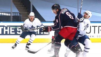 Zach Werenski defends John Tavares in the NHL return to play
