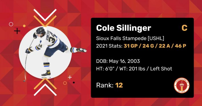 """Cole Sillinger 2021 Draft Profile Card. Centre. Sioux Falls Stampede (USHL). 2021 Stats: 31 Games Played, 24 Goals, 22 Assists, 46 Points. Date of Birth: May 16, 2003. Height: 6'0"""". Weight: 201 pounds. Left shot. Draft Rank: 12."""
