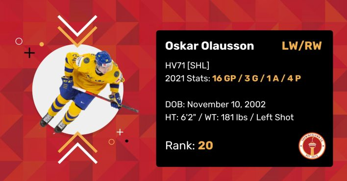 """Oskar Olausson 2021 Draft Profile Card. Left/Right Wing. HV71 (SHL). 2021 Stats: 16 Games Played, 3 Goals, 1 Assists, 4 Points. Date of Birth: November 10, 2002. Height: 6'2"""". Weight: 181 pounds. Left shot. Draft Rank: 20."""