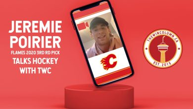Jeremie Poirier (Calgary Flames Prospect) talks hockey with The Win Column (thewincolumn.ca) in an interview. Featured image depicts a mock up of Poirier in a video call setting.