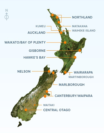 Nelson sits right between those sort-of pincer looking features at the top of the South Island