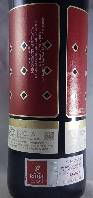 Torres Ibericos Rioja Crianza 2014 Back Label