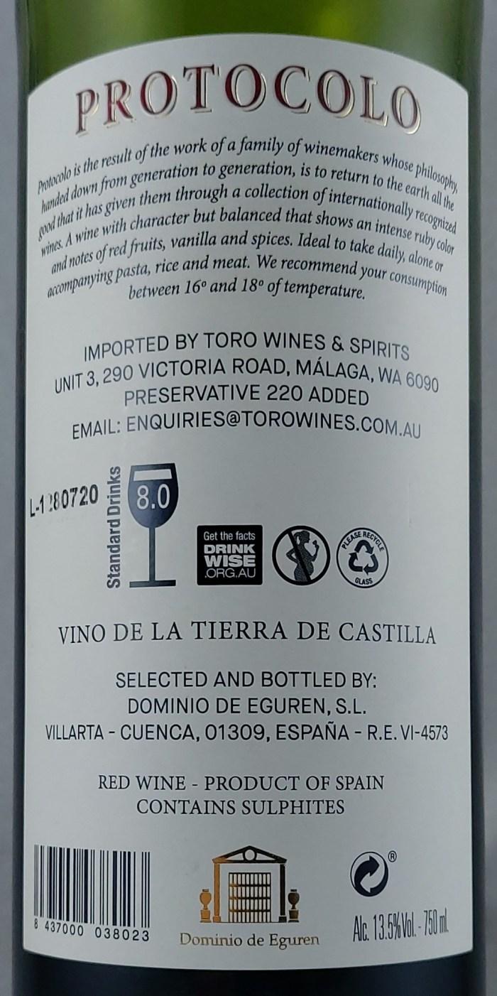 Eguren Protocolo Tinto Tempranillo Castilla Y Leon 2018 Back Label