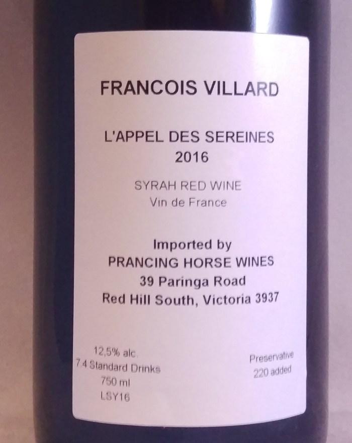 Francois Villard L'Appel des Sereines Vins de France Rhone Valley Syrah 2016 Back label