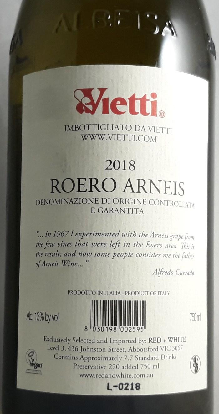 Vietti Roero Arneis 2019 Back Label