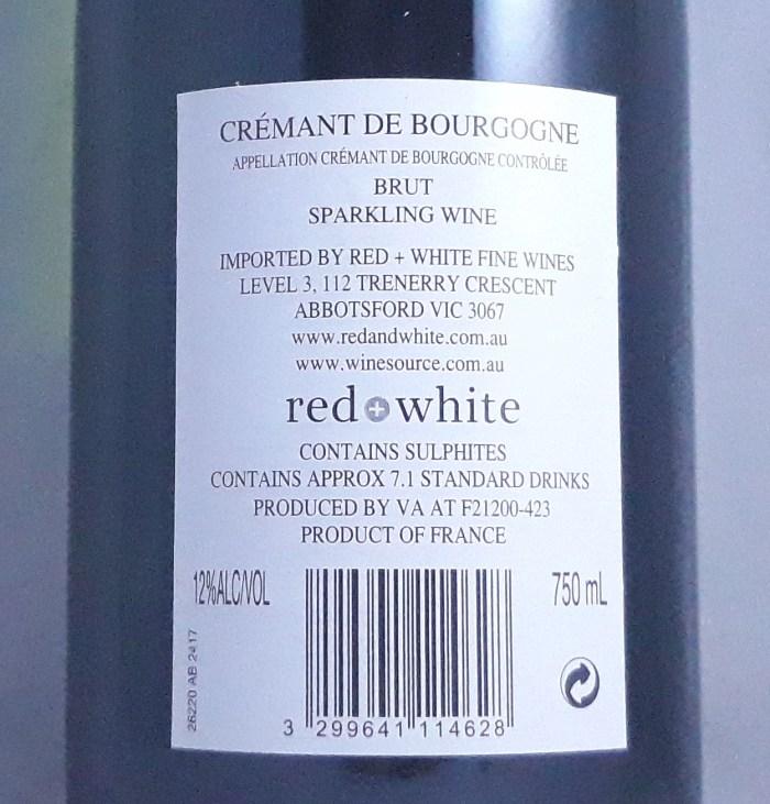Veuve Ambal Cremant de Bourgogne Blanc Burgundy NV Back Label