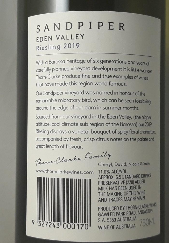 Thorn Clarke Sandpiper Riesling Eden Valley 2019 Back Label