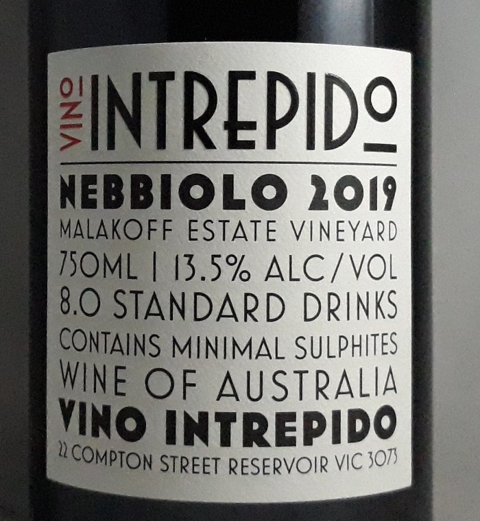 Vino Intrepido Spanna In the Works Pyrenees Nebbiolo Back Label