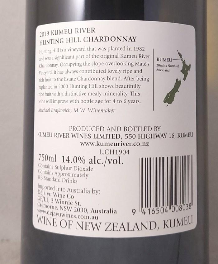 Kumeu River Hunting Hill Chardonnay 2019 Back Label