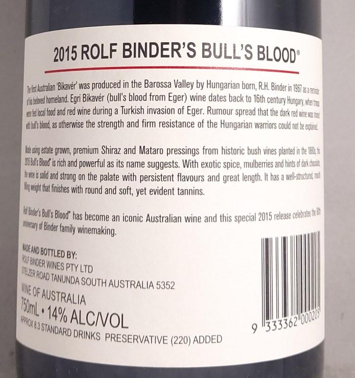 Veritas Bull's Blood Barossa Valley Shiraz Mataro 2015 Back Label