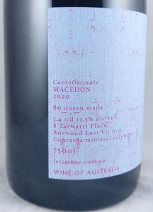 Le Timbre CantoOstinato Macedon Pinot Noir 2020 Back Label