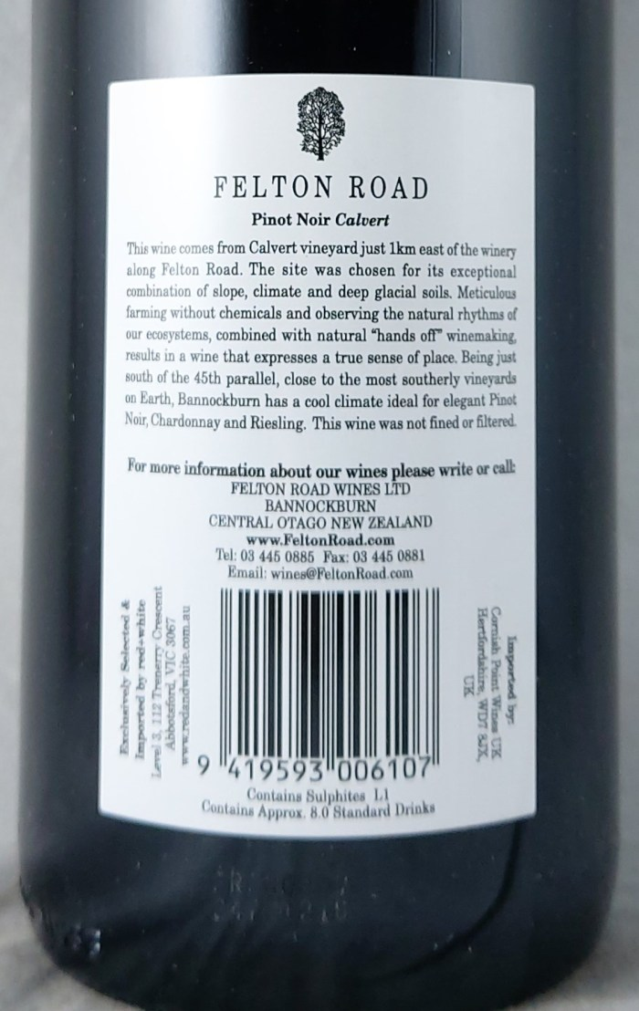 Felton Road Calvert Central Otago Pinot Noir 2019 Back Label