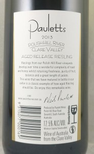 Pauletts Aged Release Polish Hill Riesling 2013 Back label