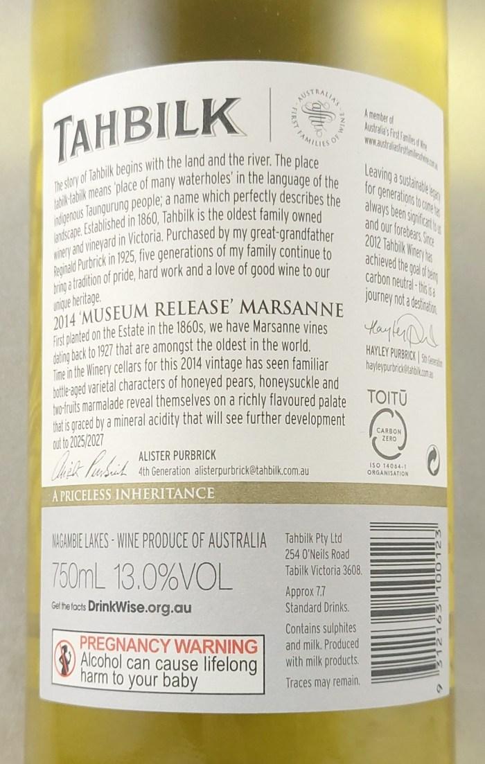 Tahbilk Marsanne Museum Release 2014 Back Label