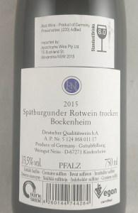 Weingut Neiss Bockenheim Spatburgunder Pfalz 2015 Back Label