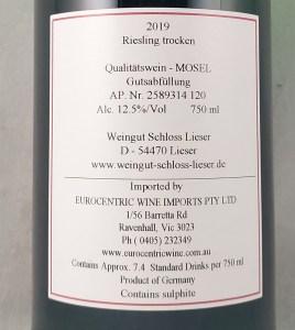 Schloss Lieser Trocken Riesling 2019 Back Label