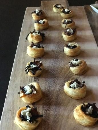 Texas 1015 sweet onion jam in puff pastry tartlet, braised bacon & gorgonzola - Stella -Truckee