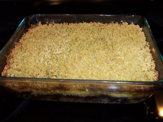 baking pan with toasty quinoa topping