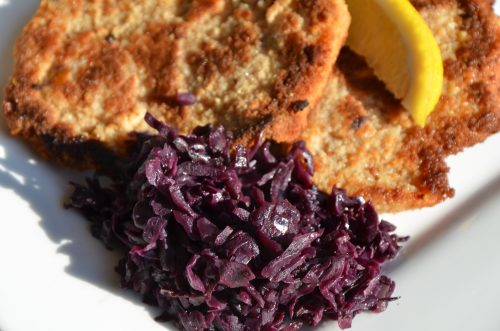 Red cabbage is such a good side dish-it is a little bit tangy and it really brightens up a plate! You can fix it and forget it in your slow cooker!