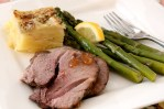 Roast lamb slice with chutney, asparagus and potatoes