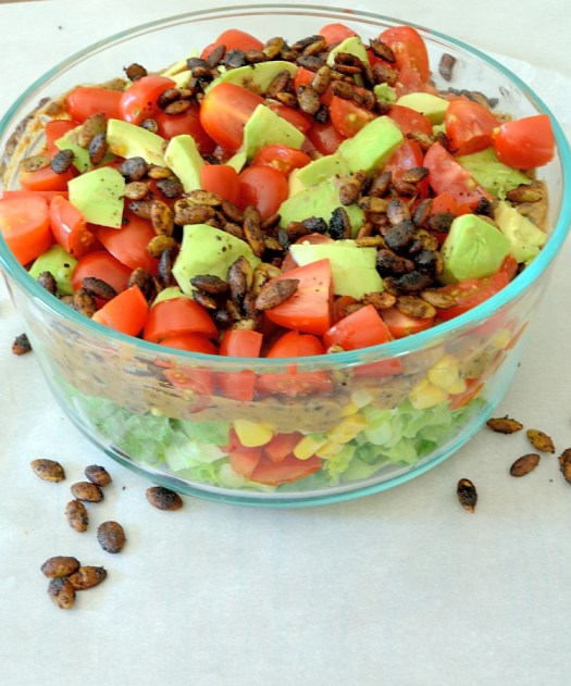 Layered Southwestern Salad with Spicy Pepitas