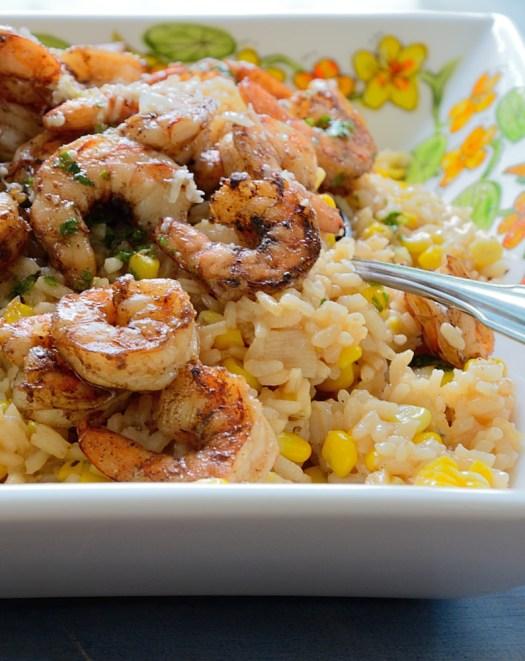 This Fresh Corn Risotto with Shrimp is a great way to take advantage of corn season. Take advantage of seasonal fresh herbs in to make the Salsa Verde.