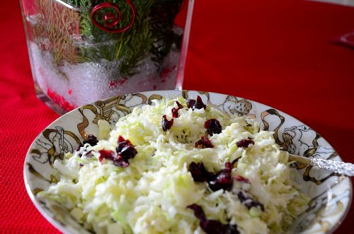 creamy-cole-slaw-with-cranberries-in -a-bowl-on-red-table-cloth
