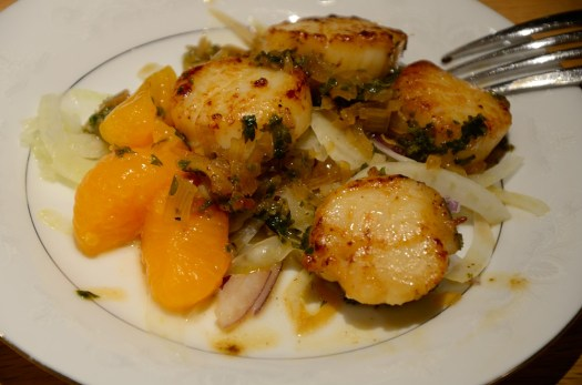 Vermouth Seared Scallops on Fennel