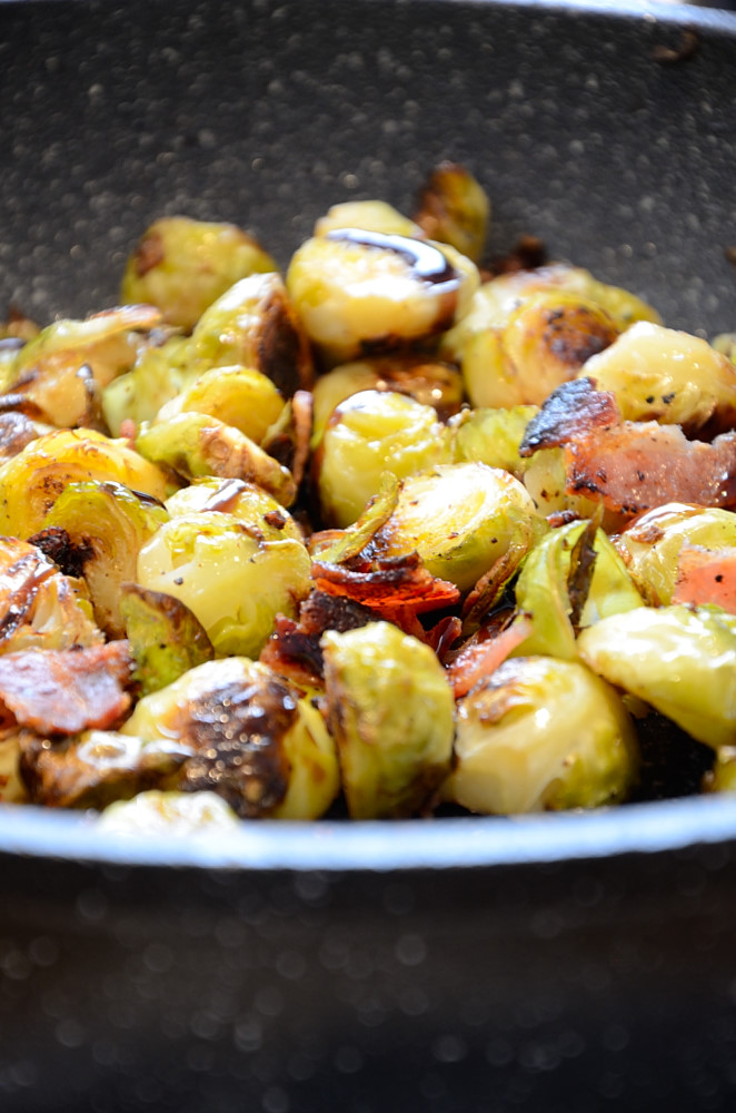 These pan searedBrussel Sprouts with hits of bacon and drizzled with a Balsamic Fig Glaze are delicious and couldn't be easier to make.