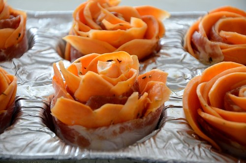 Rolled up Potato Rose in muffin tin