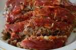 Meatloaf with brown sugar ketchup topping