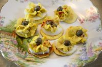 Curried Egg Drops on Cream Cheese Crepes