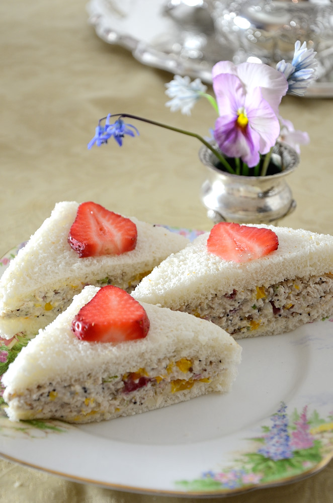 These Strawberry Chicken Salad Tea Sandwiches will become a staple for your Tea Parties, brunches or summer picnics! Elegant and delicious!