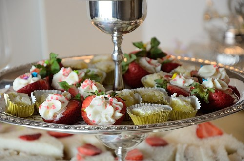 Strawberry Cream Cheese Bites and Lemon Squares on Tea Trolley