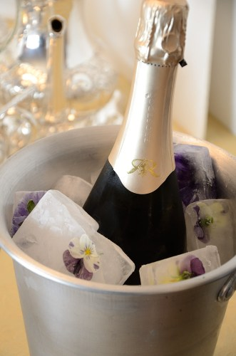 Ice Bucket with Floral Ice Cubes